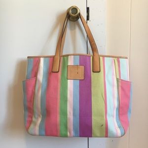 Coach Large Hampton Stripe Canvas Tote